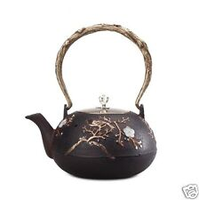 Japanese Style Plum Tree And Flower Patterned Cast Iron Teapot Kettle 1000ml