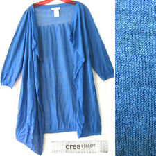 CREA CONCEPT Cardigan Sweater Linen Open Front Wrap Long Lagenlook Draped Duster