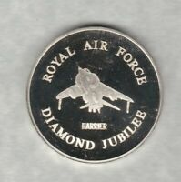 ROYAL AIR FORCE DIAMOND JUBILEE HARRIER SILVER MEDAL IN NEAR MINT CONDITION