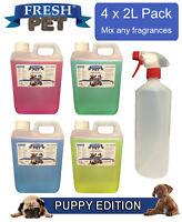 4 x 2L FRESH PET Kennel Dog Disinfectant PUPPY EDITION + EMPTY 1L SPRAY BOTTLE
