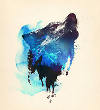 ALONE AS A WOLF PRINT BY ROBERT FARKAS hidden images forest lone wolves poster