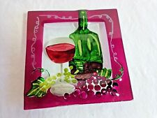 "GLASS CHEESE PLATE 6"" Red Wine Grapes Purple Square Small"