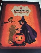 Classic Vintage Halloween Design Witch Man in the Moon Bats Owls Fabric PANEL