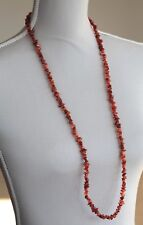 "CARNELIAN LONG LINE NECKLACE 37"" LENGTH ~ SILVER PLATED TOGGLE CLASP"