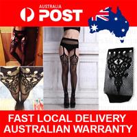 Womens Lingerie Fishnet Stockings Lace Top Garter Belt Thigh Stocking Pantyhose