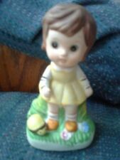 Porcelain Little Girl Figurine (Brown Hair and Yellow Dress)  (4 inches high)