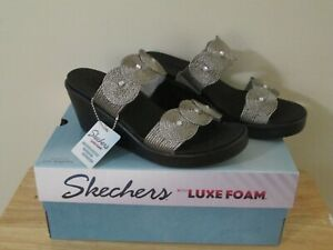 Skechers Women's  Rumble On Circle City Wedge Slide Pewter Size 8