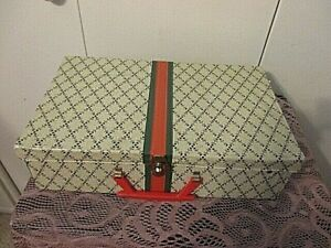 Vintage CHILD'S CARDBOARD/ Vinyl Suitcase Travel Doll Case