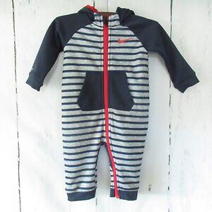 Nike Baby One Piece Hoodie 9 12 Months Dri Fit Gray Stripe Fleece Lined Full Zip