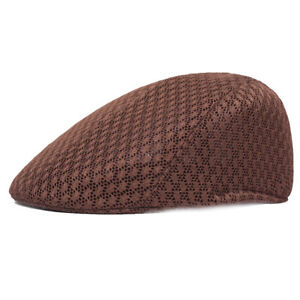Mens Mesh Summer Newsboy Beret Hat Breathable Ivy Cap Cabbie Flat Solid Hats