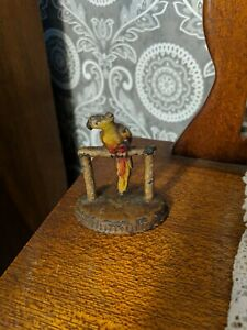 Antique HUBLEY TOY Cast Iron Parrot on a Perch Desk Paperweight