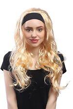 Perücke Damen Karneval Fasching Glatt Wellig Stirnband Lang Goldblond Blond 80e