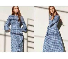 PRIMARK gingham check dress 12 blue/white midi shirt bell sleeve BNWT