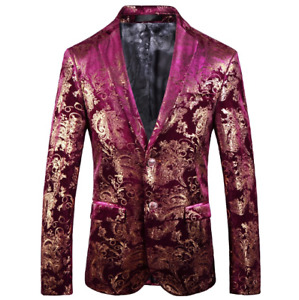 Mens Hot Blazer Casual Coat Two Button V-Neck Printing Floral Size Plus Size Fit