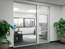 Cgp Office Partition System Glass Aluminum Wall 18 X 9 With Door Clear Anodized