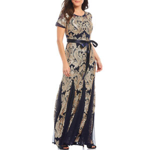 R & M Richards Short Sleeve Mesh Sequin Gown, Navy/Gold, 12P