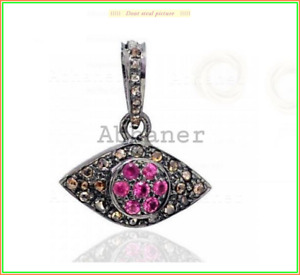 Evil Eye Unique Victorian Ruby & Pave Diamond Stone Pendent 925 Sterling Sliver