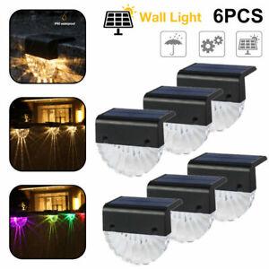 4/6PCS LED Solar Outdoor Walkway Light Garden Yard Fence Wall Landscape Lamp RGB