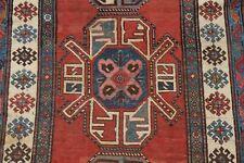 Pre-1900 Antique Geometric Tribal Vegetable Dye Kazak Caucasian Runner Rug 4'x8'