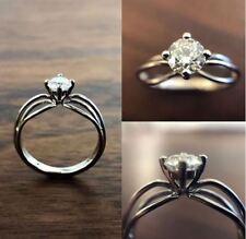 Wedding Engagement Ring 14k White Gold 2Ct Round Cut White Moissanite Unique