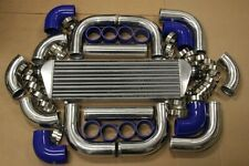 "3"" 12pc CHROME FRONT MOUNT INTERCOOLER TURBO PIPING KIT + BLUE COUPLER CLAMPS"