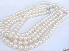 """perfect round AAA 7-8MM white Akoya pearl necklace 50"""""""