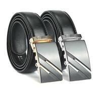 Men's Genuine Black Leather Automatic Buckle Belts Waist Strap Belt Waistband