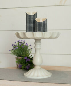 """Large 11"""" Pedestal Tray Stand Fluted Top Rustic Metal Tray Stand Display Beige"""