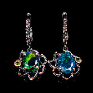 AAAA Fire Recommend gem Black Opal Earrings Silver 925 Sterling/E45442