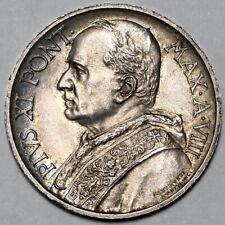 1929 POPE PIUS XI VATICAN CITY SILVER 5 FIVE LIRE COIN