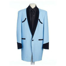 Mens Drape Jacket Pale Blue With Black Velvet Trim