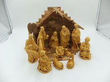 Olivewood Nativity Set with Poly Resin Figurines, Handmade