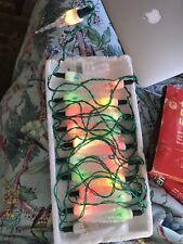 Vintage Swan 20 Coloured Icice Christmas Lights With Spare Bulbs Retro