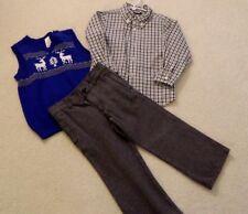 Gymboree Holiday Christmas Set Gray Pants Plaid Shirt Blue Vest 4T Euc