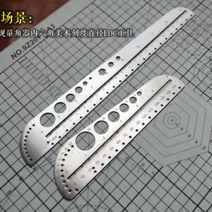 EDC Titanium Alloy Ruler Stainless Steel Portable Outdoor Compasses Tools