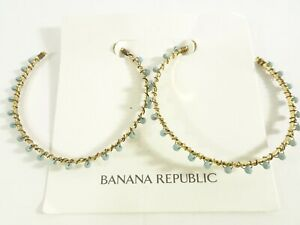 Banana Republic Women's GOLD Blue Stone Large hoop Earrings NWT 48.00