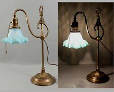 Antique Early 20thC Adjustable Brass Desk Lamp Blue Opalescent Glass Shade