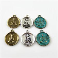 Mischfarbe Runde Buddha Muster Legierung Anhänger Charme Schmuck Kunst 30 Stk