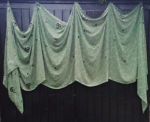 Fairtrade Boho Green Sequinned  Ethnic Indian Sari Bohemian Window Ceiling Swag