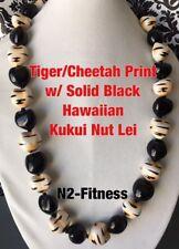 Hawaii Wedding Tiger Cheetah Print BLACK Luau Necklace Graduation Promotion
