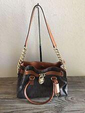 Michael Kors Hamilton East/West Logo Satchel Bag 👜 MK Brown Leather