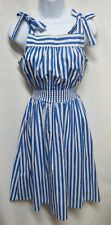 You Babes II Fritzi Vintage 80s Blue White Stripe Cotton Dress S  USA  MINT