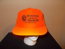 VTG-1980s AT&T Missouri Call Before You Dig Blaze Neon Orange hunting deer hat