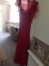 Kate Moss Seda Rojo Maxi Vestido Talla 12 Topshop de flameo