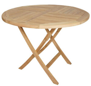 KMH® Teak Esstisch Gartentisch 100 cm Teaktisch Holztisch Klapptisch Tisch rund