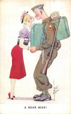 POSTCARD  COMIC     Army  Pretty   Girl   A  Near  Miss        TUCK