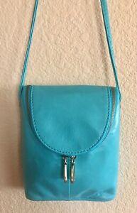Nwt Women's Hobo International Leather Crossbody Bag Purse, Fern, Aqua MSRP $128