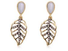 Antique Golden Leaf Skeleton Earrings Grey Opal Like Stone Jewelry Gift Ear Stud