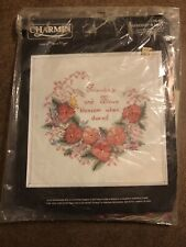 Vintage Charmin Janlynn Stamped Cross Stitch Kit Paperwork Friendship and Love