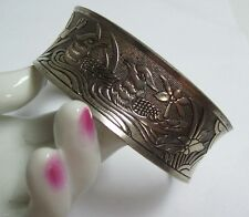 in Floral Nest Cuff Bracelet Vintage Asian Silver Plated Embossed Birds